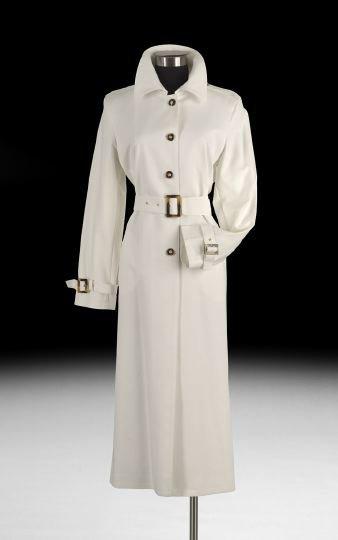 850: St. John Full Length White Cotton Trench Coat