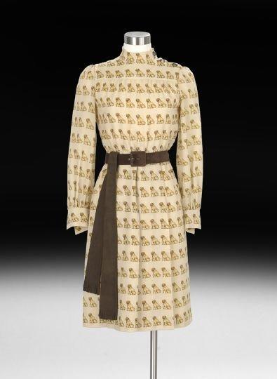 "857: Valentino Wool Challis ""Pug"" Dress"