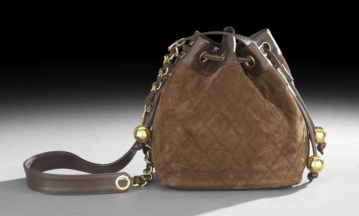 858: Chanel, Paris, Chocolate Brown Drawstring Bag