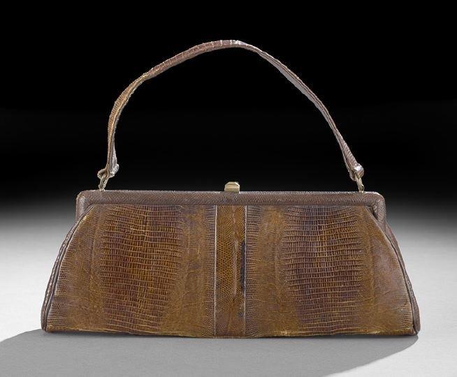 859: Vintage Tobacco Brown Lizard Handbag