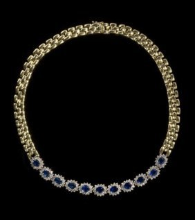 14 Kt. Yellow Gold, Sapphire And Diamond Necklace