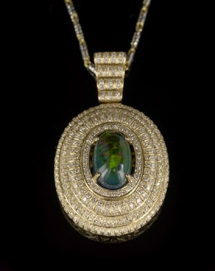 934: 14 Kt. Gold, Opal and Diamond Pendant Necklace