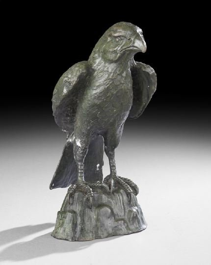 2: Patinated Metal Figure of a Hawk