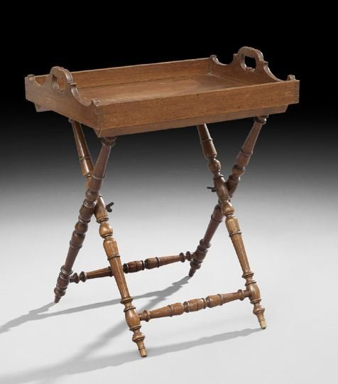 14: Edwardian-Style Oak Butler's Tray on Stand