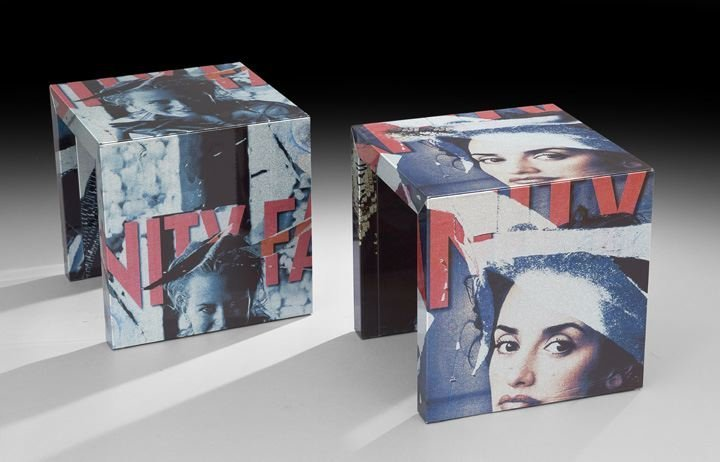153: Pair of Cubical Side Tables by Mimmo Rotella