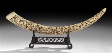 205: Large Chinese Carved Ivory Tusk