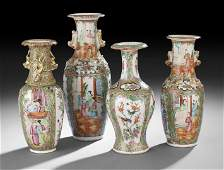262 Group of Four Chinese Export Rose Medallion Vases