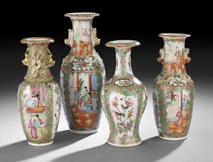262: Group of Four Chinese Export Rose Medallion Vases