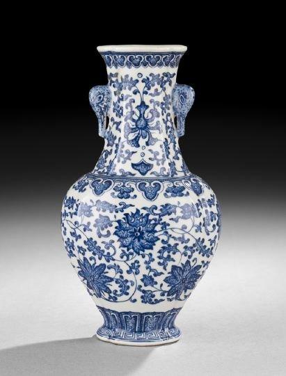 409: Chinese Blue-and-White Flattened Baluster Vase