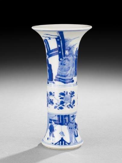 410: Small Chinese Blue-and-White Gu Beaker Vase