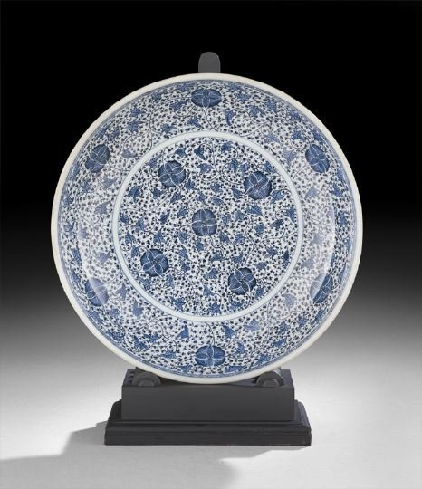 411: Large Chinese Blue-and-White Saucer Dish