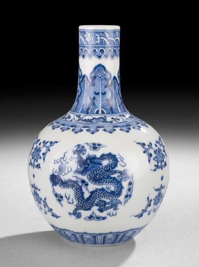 412: Chinese Blue-and-White Bottle Vase