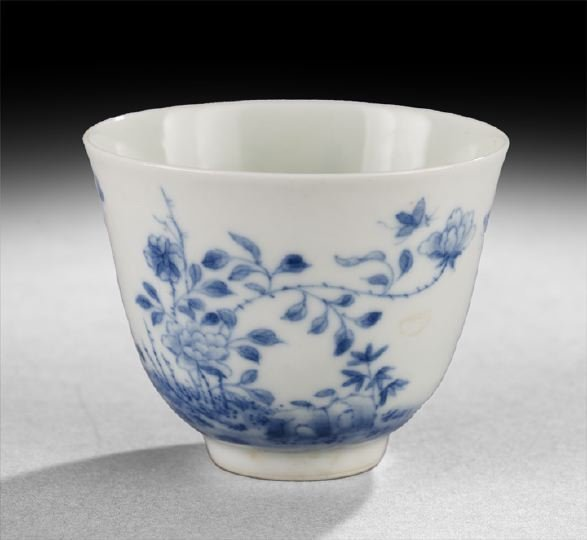 413: Chinese Blue-and-White An Hua Porcelain Wine Cup