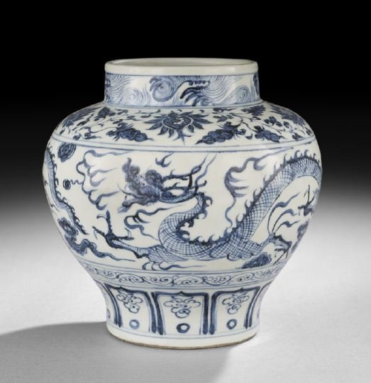 415: Chinese Blue-and-White Ming-Style Guan-Shaped Jar
