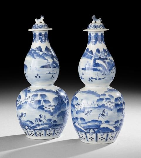 418: Pair of Chinese Blue-and-White Porcelain Vases