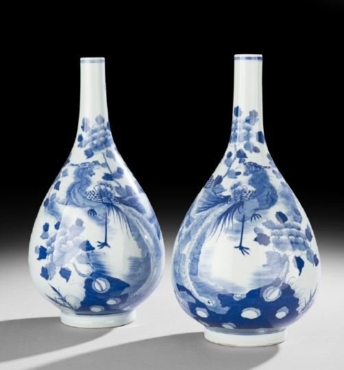 421: Pair of Chinese Porcelain Blue-and-White Vases