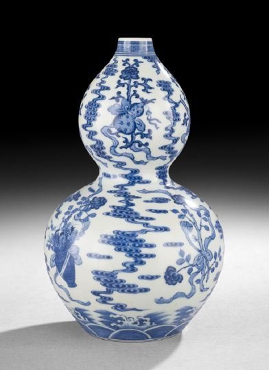 422: Chinese Blue-and-White Double Gourd Vase