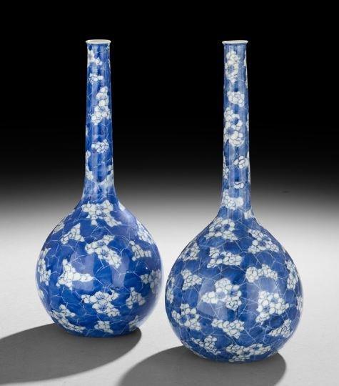 423: Pair of Japanese Blue-and-White Porcelain Vases