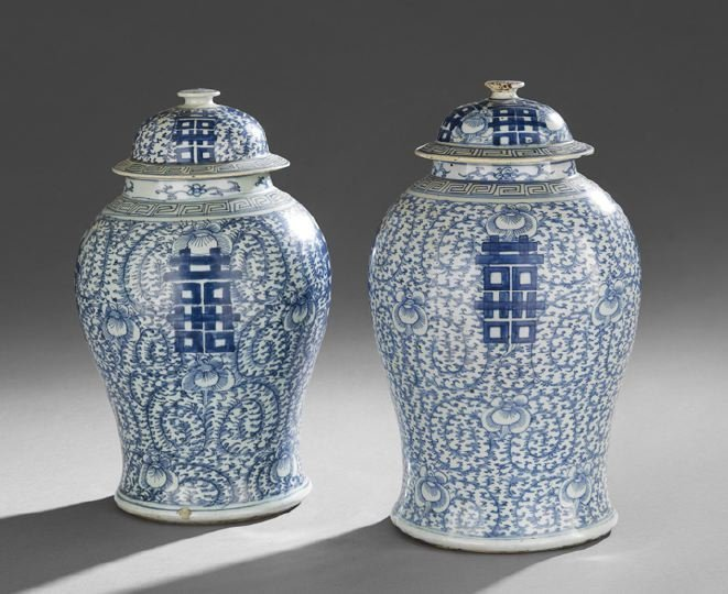 430: Pair of Chinese Baluster Jars and Covers