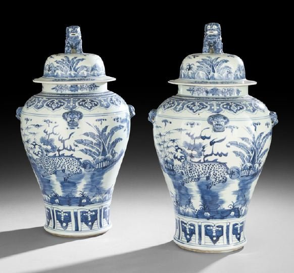 431: Pair of Large Chinese Baluster Jars and Covers