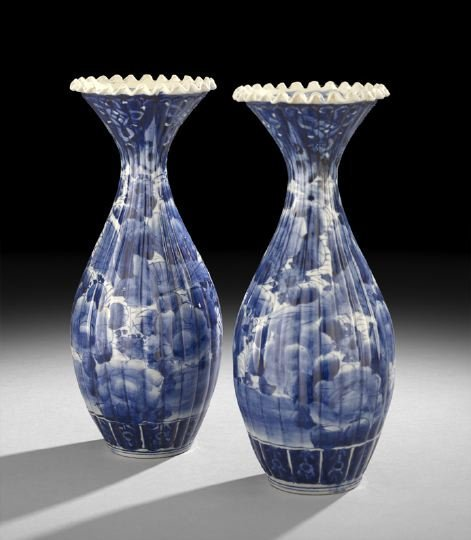 432: Pair of Japanese Underglaze Blue Vases