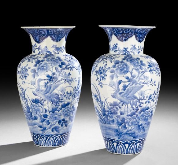 441: Large Pair of Japanese Blue-and-White Vases
