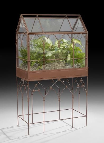 657 Victorian Style Metal And Glass Terrarium