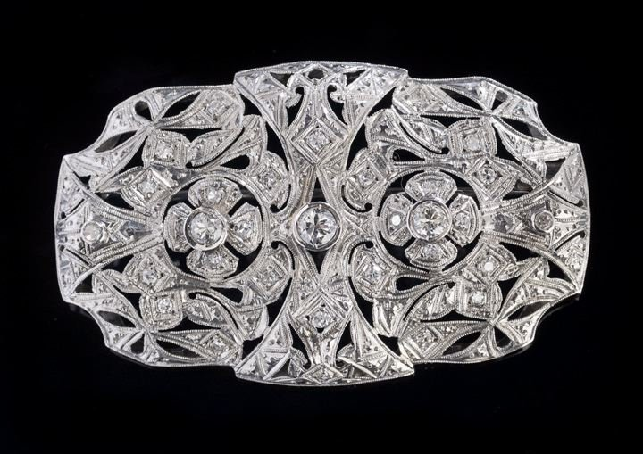 1110: Lady's Platinum and Diamond Art Deco-Style Brooch