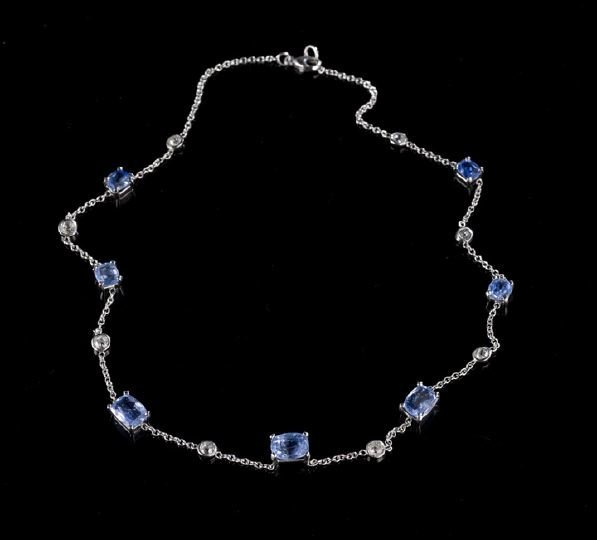 1115: Platinum, 14 Kt., Sapphire and Diamond Necklace