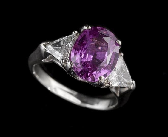 1121: 14 Kt. White Gold, Pink Sapphire and Diamond Ring