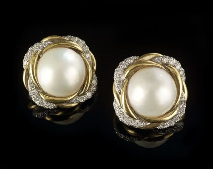 1128: Pair of Mabe Pearl and 18 Kt. Gold Earrings