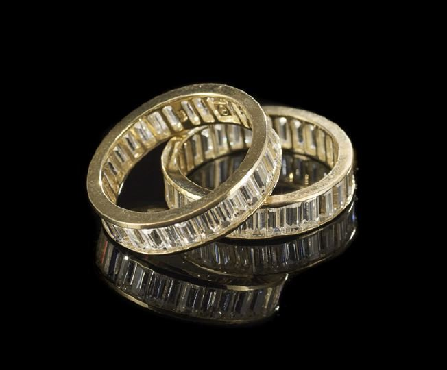 1130: Pair of 14 Kt. Gold and Diamond Ring Guards