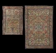 1489: Pair of Antique Persian Lavar Kerman Carpets