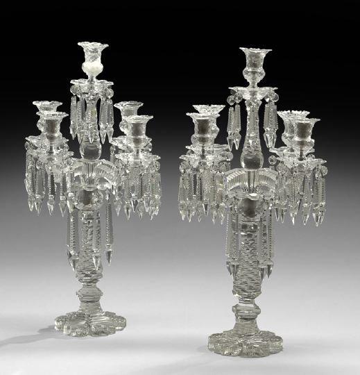 2: Pair of Victorian Five-Light Cut-Glass Candelabra