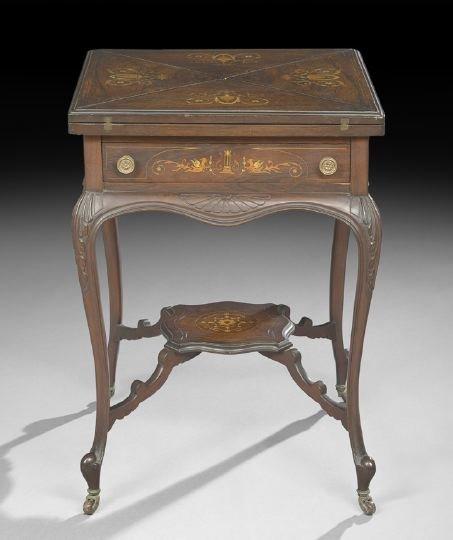6: Edwardian Inlaid Rosewood Handkerchief Table