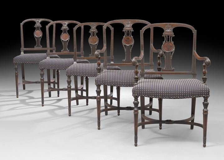 7: Suite of Five Edwardian Mahogany Dining Chairs