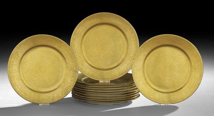 9: Set of Twelve English Raised Gilt Service Plates