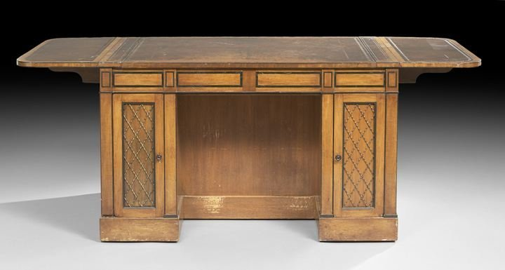 12: Edwardian Mahogany Desk/Collector's Cabinet