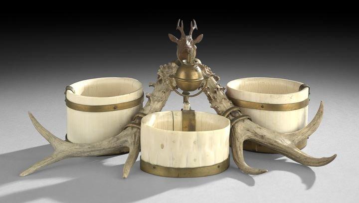 18: Continental Ivory, Bronze and Antler Smoking Set