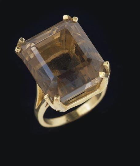 789: 14 Karat Gold and Smoky Quartz Dinner Ring