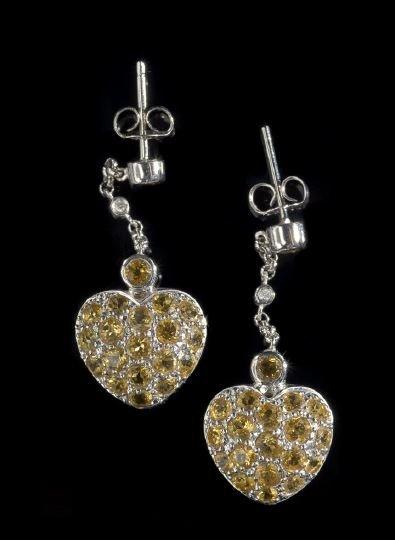 790: Pair of Diamond and Yellow Sapphire Earrings