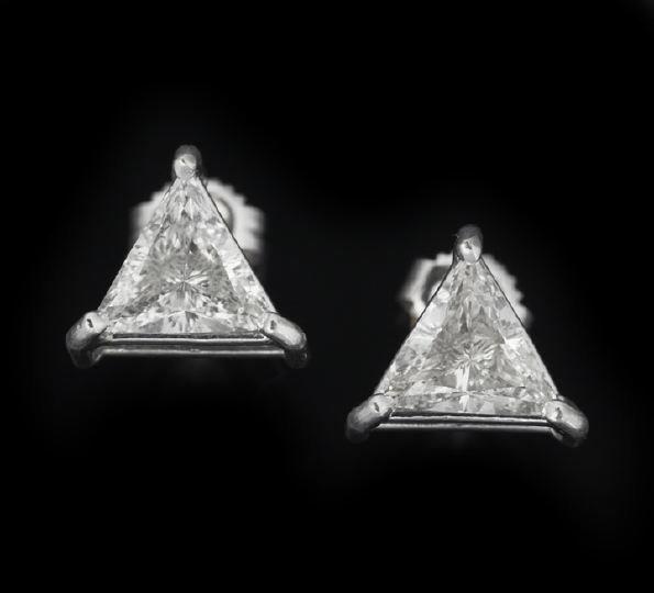 793: Pair of 14 Karat Gold and Diamond Earrings