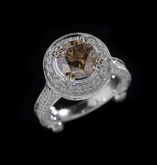 795: Lady's 18 Karat Gold and Cognac Diamond Ring