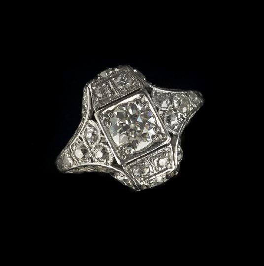 803: Lady's Art Deco Platinum Diamond Ring