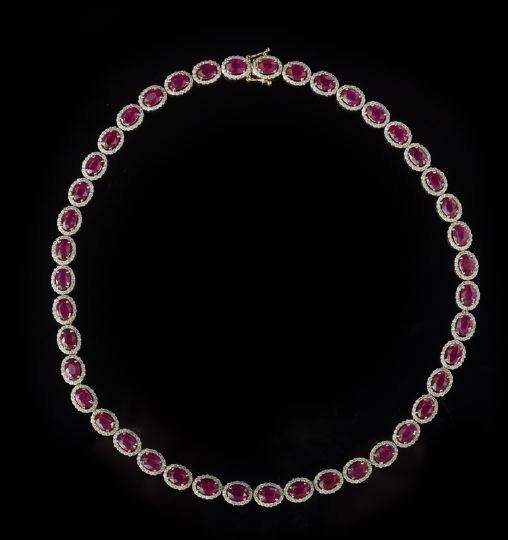 806: Lady's 14 Karat Gold, Diamond and Ruby Necklace