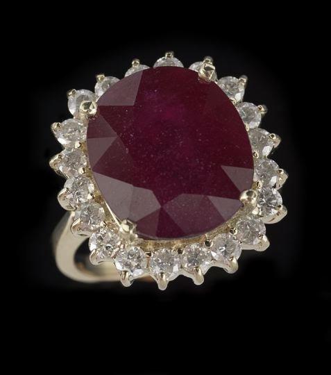 807: Lady's 14 Karat Gold, Diamond and Ruby Ring