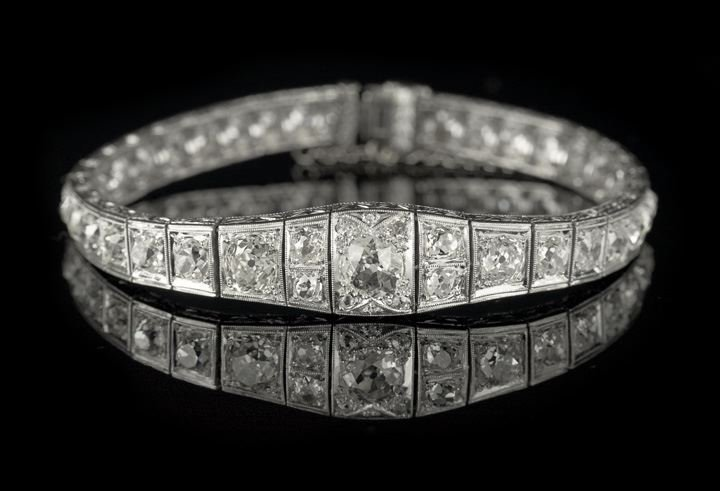 846: Lady's Art Deco Platinum Diamond Bracelet