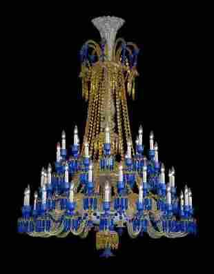 954: Baccarat Full-Lead Crystal Zenith Long Chandelier