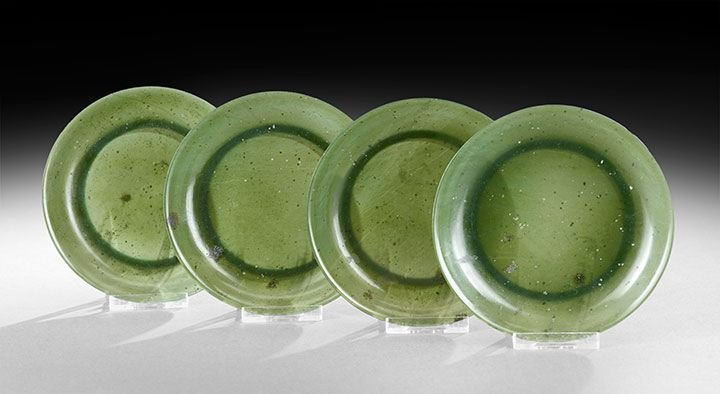 1: Four Chinese Jade Saucer Dishes