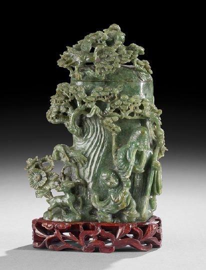 3: Chinese Carved Dark Green Jade Covered Vase
